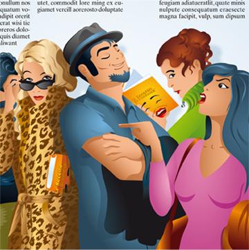 Illustration de personnages en groupe